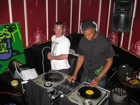 DJ Delgado and DJ Odiaka at Fresh Jamz' second anniversary party. - PHOTO COURTESY OF DJ ODIAKA