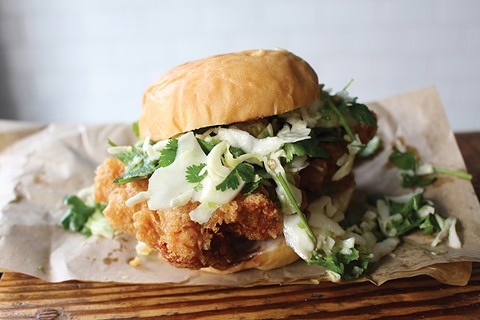 Hawking Bird stands out with its fried chicken sandwich, finished with a minty slaw and chili jam. - PHOTO BY JANELLE BITKER