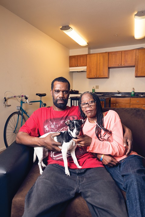 """Mark and Sheila Doleman lived down the hall from where the fire started and barely escaped. """"We lost everything, and we damn near lost our life,"""" said Mark. - PHOTO BY LANCE YAMAMOTO"""