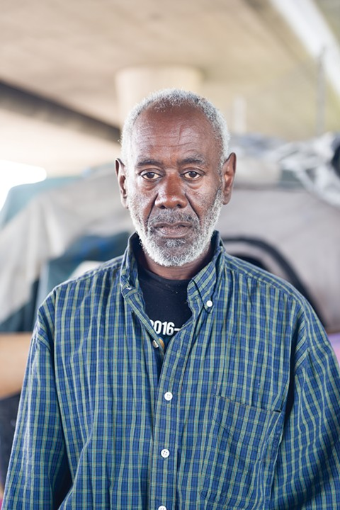 A former resident of the San Pablo Ave. building, Byron Anderson now lives in a homeless camp. - PHOTO BY LANCE YAMAMOTO