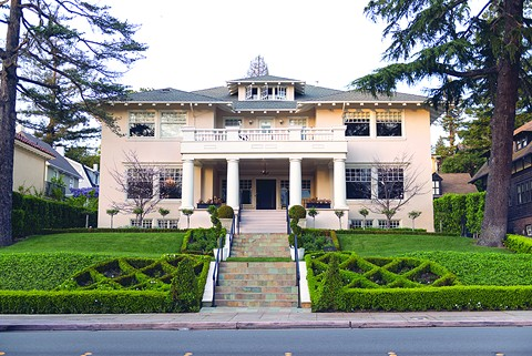 After filing for bankruptcy in 2011, building co-owner Keith Kim lived in this 8,000-square-foot house at 622 Highland Ave. in Piedmont. - PHOTO BY LANCE YAMAMOTO