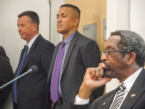 Alameda County Sheriff Capt. Martin Neideffer; Lieut. Miguel Ibarra, Alameda County Sheriff's Office Youth and Family Services Bureau; and Alameda County Supervisor Nate Miley at a recent meeting in San Lorenzo. - PHOTO BY DARWIN BONDGRAHAM