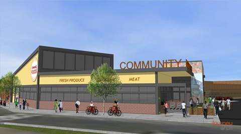 A rendering of West Oakland's upcoming grocery store. - PHOTO COURTESY OF LOWNEY ARCHITECTURE