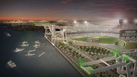 A new ballpark at the Howard Terminal site would enjoy waterfront views. - MANICA ARCHITECTURE