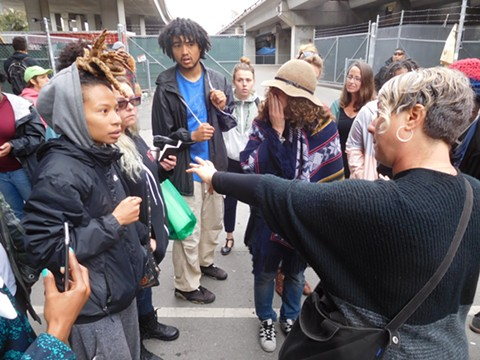 Housing activists confronted city staff this morning after word spread that the city would be closing the Northgate homeless camp.