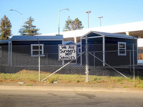 A Tuff Shed camp in Oakland. - PHOTO BY DARWIN BONDGRAHAM
