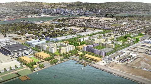 When complete, the $460 million project at Alameda Point will include 800 residential units, including 200 affordable units, 600,000 square feet of commercial development, and 15 acres of parks and public open space.