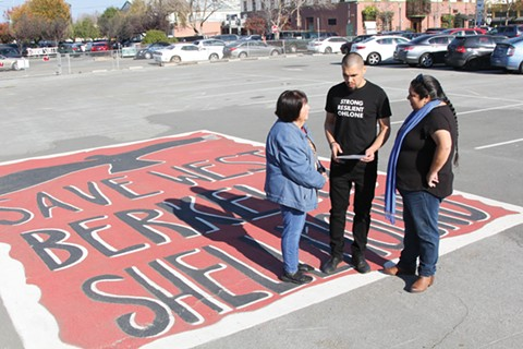 Ohlone leaders Ruth Orta, Vincent Medina, and Corrina Gould at the West Berkeley site of contention. - PHOTO COURTESY OF CHRISTOPHER MCLEOD