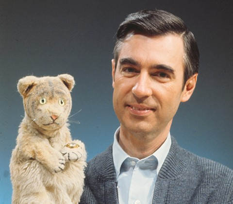 Fred Rogers and Daniel Tiger compare notes.