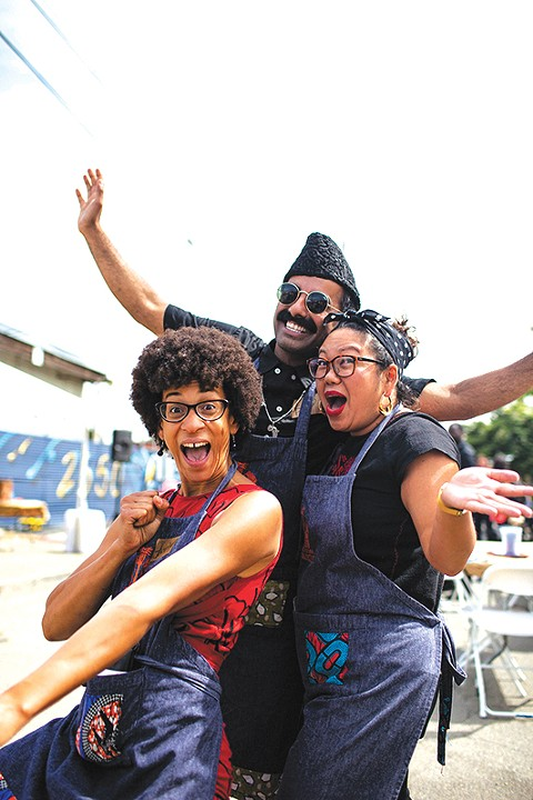 Jocelyn Jackson, Saqib Keval, and Sita Kuratomi Bhaumik met and formed the People's Kitchen Collective in 2015. - PHOTO COURTESY OF SANA JAVERI KADRI