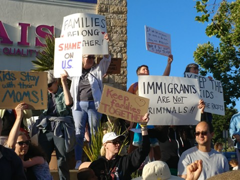 A protest last week in El Cerrito against the Trump administration's family-separation policy. - PHOTO COURTESY OF CAROLYN NORR