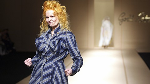 Dame Vivienne Westwood frolics on the runway. - PHOTO COURTESY OF GREENWICH ENTERTAINMENT