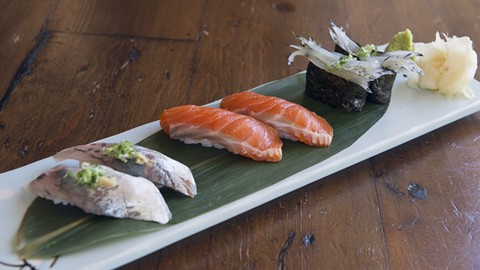 At Kamado's sushi bar, you'll find unusual seafood such as shirauo, tiny ice fish (right). - PHOTO BY LANCE YAMAMOTO