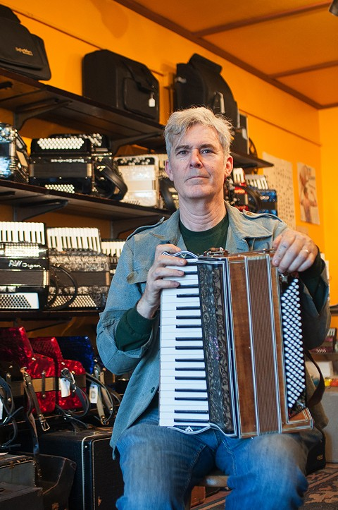 Kimric Smythe first opened his accordion shop in 1997. - PHOTO BY DREW COSTLEY