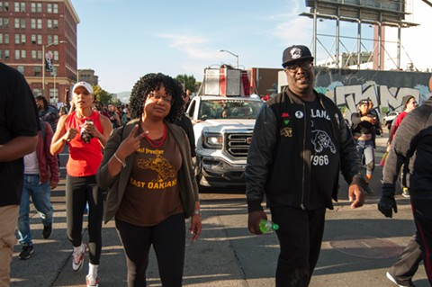 Candice Elder and Kenzie Smith march on Telegraph Avenue. - DREW COSTLEY