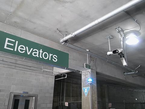 ALPR cameras the BART police installed in the MacArthur Station Parking Garage. - DARWIN BONDGRAHAM