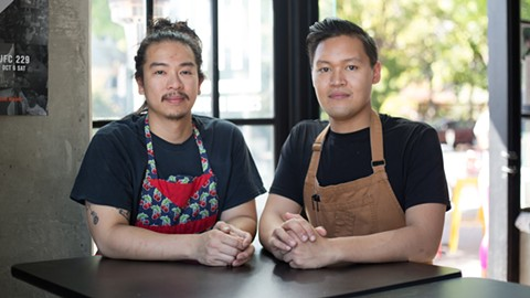 Jan Dela Paz (left) and Bobby Punla met while working at Ramen Shop. - PHOTO BY RICHARD LOMIBAO