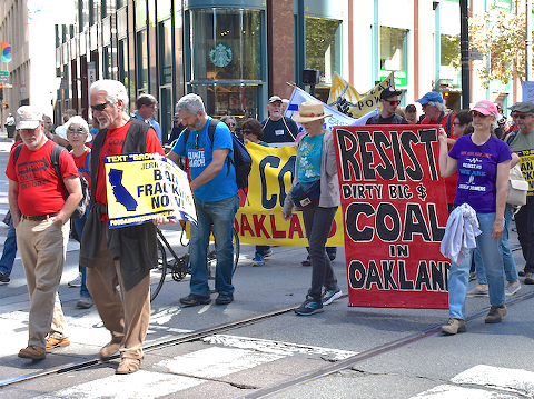 Anti-coal activists marched on Saturday before the beginning of San Francisco's Global Climate Action Summit. - DANIEL LEMPRES