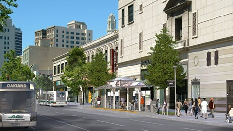 A rendering of Bus Rapid Transit in downtown Oakland. Some residents worry that BRT will lead to displacement. - IMAGE COURTESY OF AC TRANSIT