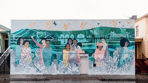 The addition of community member, neighbor, and mother Amanda Wright (third from right) next to Gertrude Stein in the mural at 691 27th Street was made at the suggestion of local residents who knew her. - PHOTO BY ELLE WILDHAGEN