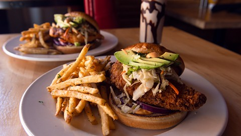 The California-style chicken sandwich could win a prize for prettiest presentation, but it was also overcooked and dry. - PHOTO BY LANCE YAMAMOTO