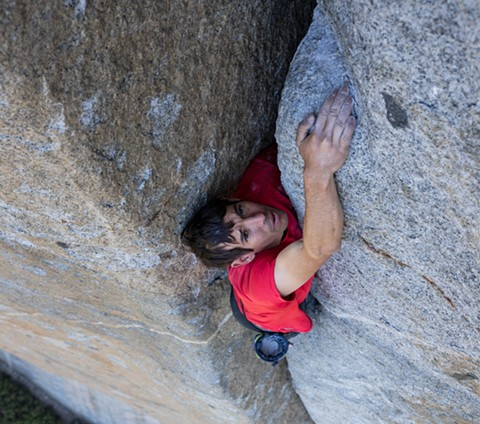 Alex Honnold clings to the face of El Capitan in Free Solo