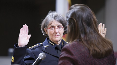 Police Chief Anne Kirkpatrick being sworn in by Oakland Mayor Libby Schaaf. - FILE PHOTO BY D. ROSS CAMERON