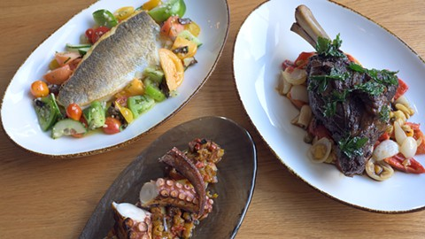 The loup de mer (left), the grilled octopus, and the Persian-style lamb. - PHOTO BY LANCE YAMAMOTO