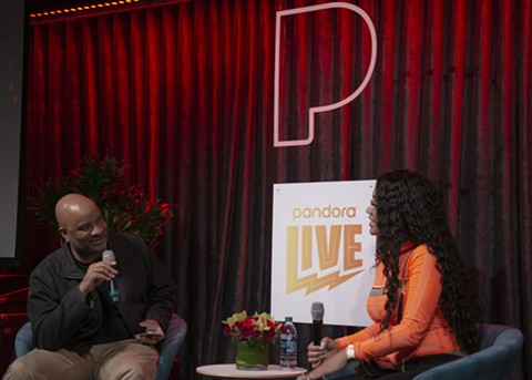 Journalist Mosi Reeves interviewing Saweetie at the Pandora Live event in Oakland. - PHOTO COURTESY OF PANDORA
