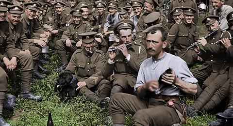 British soldiers relax between battles in They Shall Not Grow Old.