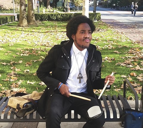 Victor McElhaney warms up before his Thornton School of Music audition. - PHOTO COURTESY LYNETTE MCELHANEY