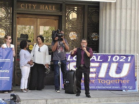City Council President Rebecca Kaplan speaks at a recent budget rally. - PHOTO BY DIEGO AGUILAR-CANABAL