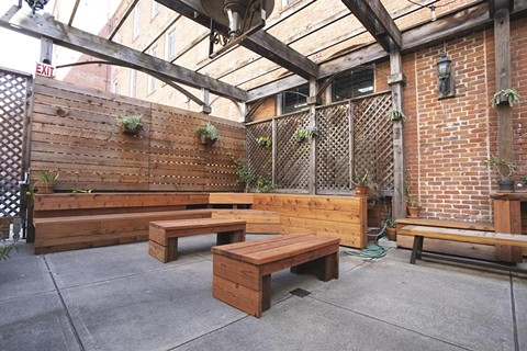 There's a comfy patio at The Lede. - PHOTO BY MIKE MAGES