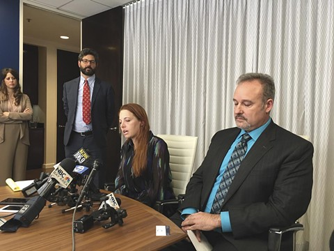 Sarah Steel and Michael Bachmann at a press conference accouncing their suit against the air district. Steele later settled. - PHOTO BY BOBBY LEE