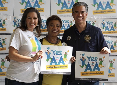 Oakland Mayor Libby Schaaf, Rep. Barbara Lee, and Assemblymember Rob Bonta were strong supporters of Oakland's Measure AA. - MEASURE AA CAMPAIGN