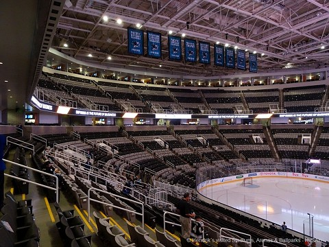 An empty SAP Arena in San Jose, home of the NHL's Sharks.