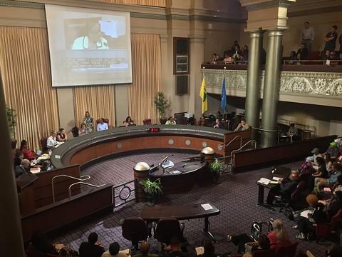 Oakland City Council chambers pre-covid-19. - FILE PHOTO