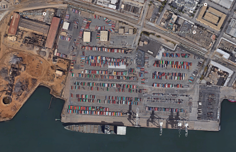 Aerial view of the Howard Terminal site the A's are proposing for a new downtown ballpark. - FILE PHOTO