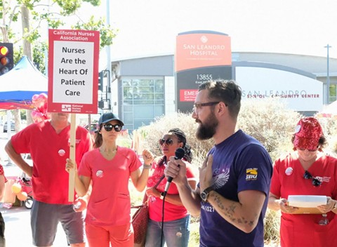 Nurses and other health care workers picketing at San Leandro Hospital, a health care facility operated by Alameda Health System. - SEIU LOCAL 1021