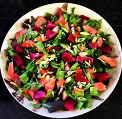 A gluten-free beet and king salmon salad. - OAKLAND HOT PLATE