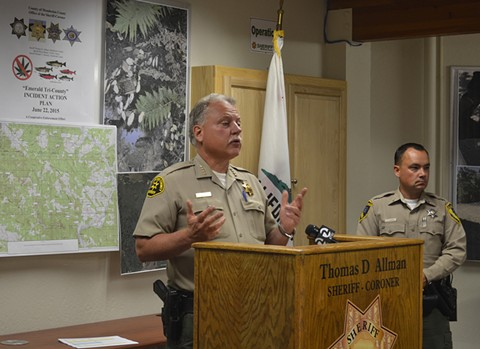 """More than 10 percent of Mendocino County Sheriff Tom Allman's budget comes from """"restitution"""" funds extracted from cannabis farmers. - ADRIAN FERNANDEZ BAUMANN"""