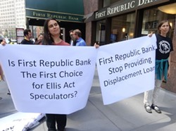 Activists outside of First Republic Bank's headquarters in San Francisco. - DARWIN BONDGRAHAM