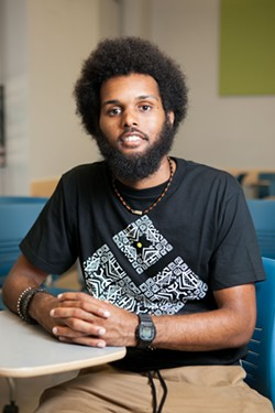 Marcel Jones, a UC Berkeley undergraduate, finds it important to organize as well as study. - BERT JOHNSON