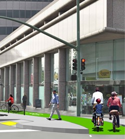 A rendering of a bus boarding island and buffered bike lane at 20th Street at Webster Street in Oakland. - CITY OF OAKLAND