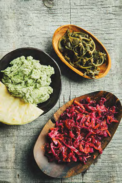 The requesón de semilla de calabaza is the lime-green dip to the left. - TRACEY KUSIEWICZ / DECOLONIZE YOUR DIET