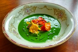 Nasturtium and burrata soup. - JOURNEYMEN