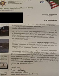 A fundraising letter from the Deputy Sheriff's Association of Alameda County.