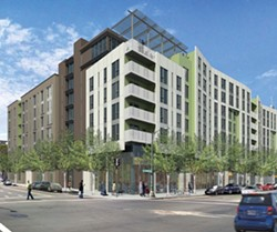 Wood Partners' 258-unit apartment buildings would replace a surface parking lot on 14th across from the post office.