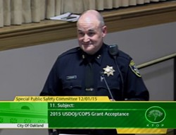 Oakland Police Deputy Chief David Downing at last week's public safety committee meeting.