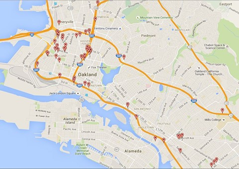 The Oakland Public Works Agency closed  66 homeless camps in 2015. Most were located near freeways and industrial areas of West and East Oakland.